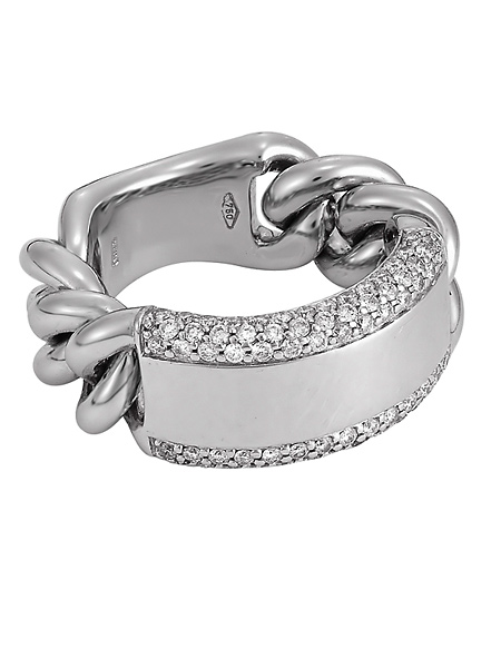 San Tropez Pave Framed Solid Bar White Gold Ring With