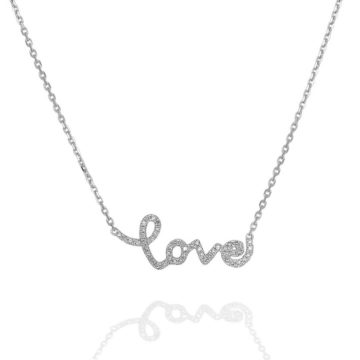 Amore – 18ct White Gold Diamond LOVE Necklace