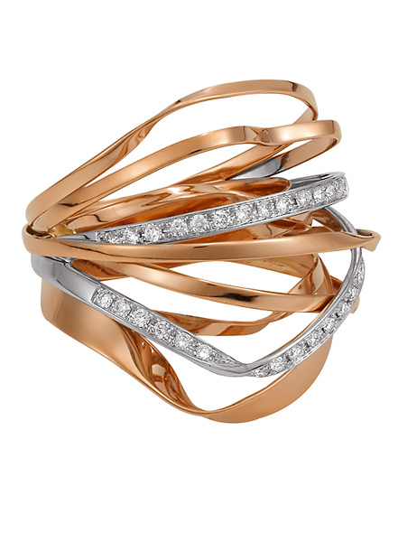 Barcelona – Spaghetti Ring in Rose Gold set with Pave Diamonds in White Gold