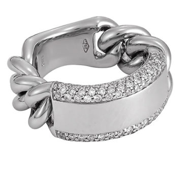 San Tropez – Pave Framed Solid Bar White Gold Ring with Groumette Chain