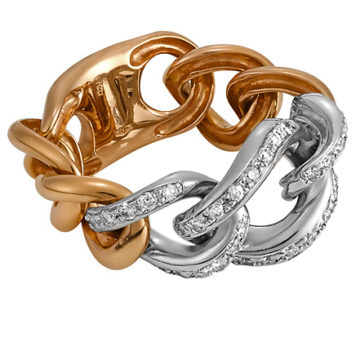 Montecarlo – Groumette Chain Ring in 18ct White and Rose Gold with Diamonds