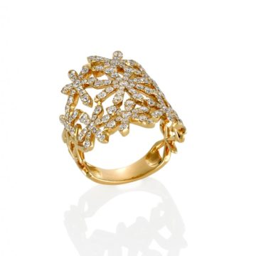 Barcelona – 18ct Yellow Gold Diamond Encrusted Flower Ring