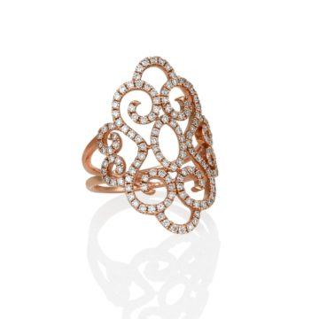 Barcelona – 18ct Rose Gold Diamond Spiral Ring