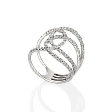 Barcelona –  18ct White Gold Infinity Ring with Cross Over Diamonds