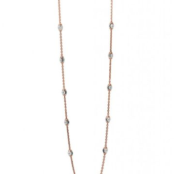 Amalfi – 18ct Rose Gold Necklace with White Gold Faceted Balls