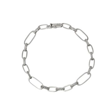 Firenze – White Gold Chain Link Bracelet with Diamonds