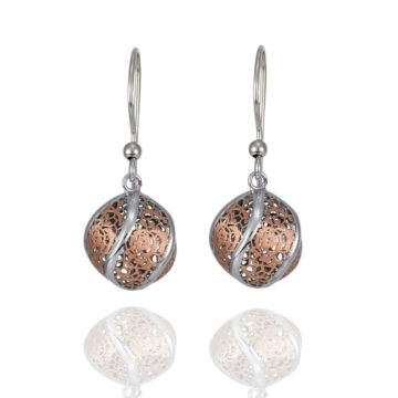 Sorrento – 18ct Rose and White Gold Ball Earring