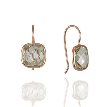 Napoli – Coloured Stone Green Amethyst Earrings in 18ct Rose Gold