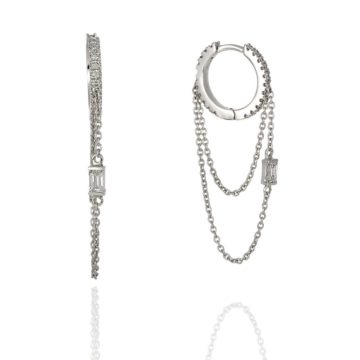 Roma – 18ct White Gold Mono Earring with Double Chain and Diamonds