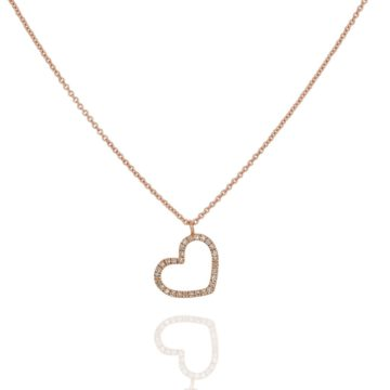 Positano Silhouette Heart on 18ct Rose Gold Chain