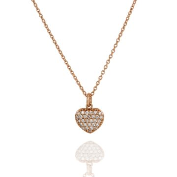 Positano Pave Diamond Heart Pendant in 18ct Rose Gold