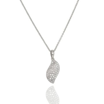 Amore – 18ct White Gold Pave Flat Leaf Pendant on Chain