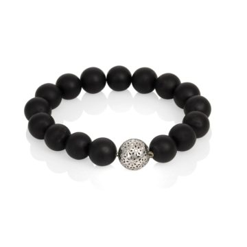 Milano – Matt Onyx Ball Bracelet with Single White Gold Diamond Ball