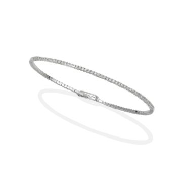 Milano – White Gold Spring Bangle with Diamonds