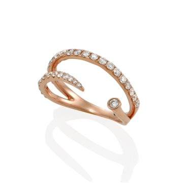 Abruzzo – Wrap Around 18ct Rose Gold Diamond Pave Ring