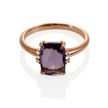 Napoli – Coloured Stone Purple Amethyst with Diamonds set in 18ct Rose Gold