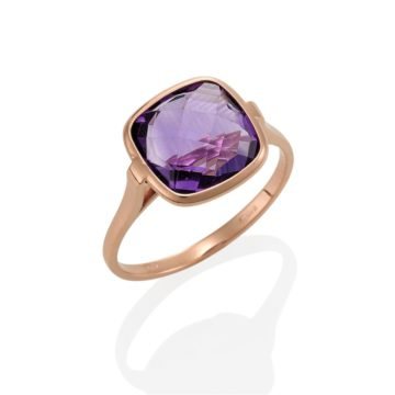 Napoli – Coloured Stone Purple Amethyst Ring set in 18ct Rose Gold