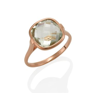Napoli – Coloured Stone Green Amethyst Ring set in 18ct Rose Gold