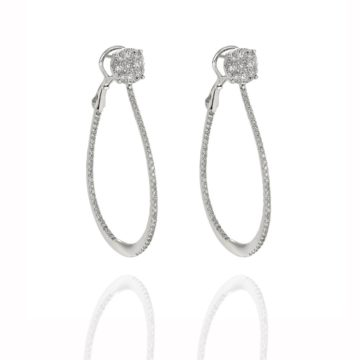 Capri – 18ct White Gold Illusion Set Diamond Stud with Pear Shape Hoop