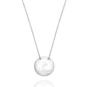 Je t'aime Disc Necklaces in 18ct White Gold