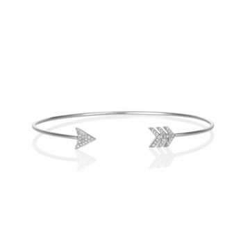 Cupids Cuff Bangle – Pave Diamond Cuff Bracelet in 18ct White Gold
