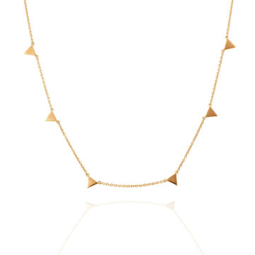18kt Yellow Gold Necklace with Six Gold Triangles