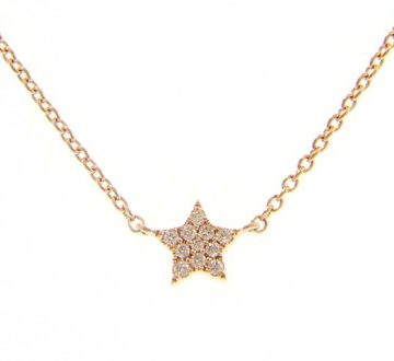 Stella – 18kt Rose Gold Star Necklace with White Diamonds