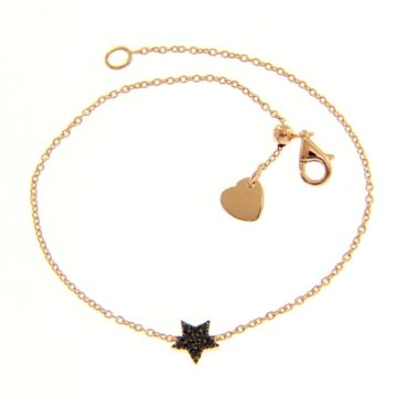 Star Bracelet in Rose Gold with Black Diamonds