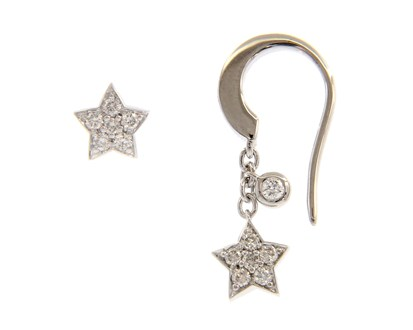 Match Me If You Can White Gold Star Earrings