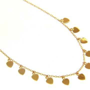 Amore – 18K Yellow Gold Multi Heart Drop Necklace