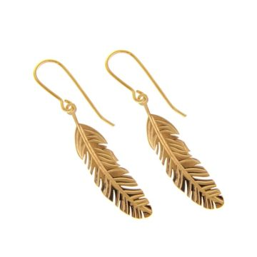 Fortuna Feather – 18kt Yellow Gold Feather Earrings
