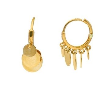 Canzone – 18kt Yellow Gold Hoop Earrings with Round Drop Discs